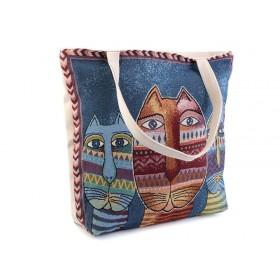 Lněná nákupní nebo plážová taška Sovy