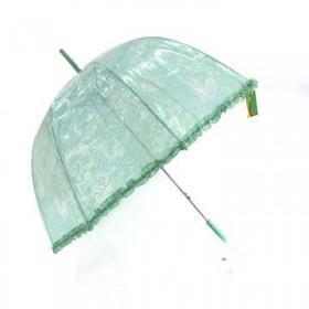 Dámský deštník průhledný zelený 92cm