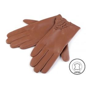 Dámské kožené rukavice tmavě hnědé M