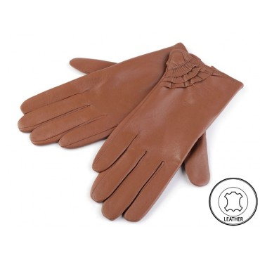 Dámské kožené rukavice tmavě hnedé M