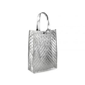 Stříbrná lesklá metalická taška 33 x 23 cm