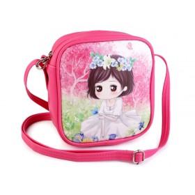 Dievčenská kabelka s dievčarkom Tmavě ružová