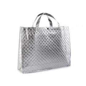 Stříbrná lesklá metalická taška 46 x 35 cm