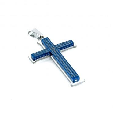 Prívesok z chirurgickej ocele krížik Calvo modrý
