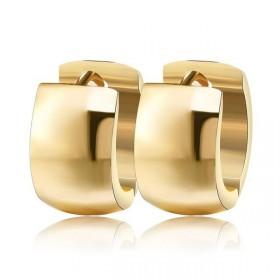 Ocelové Náušnice kruhy smoot Zlaté