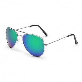 914924677 Slnečné okuliare pilotky modro-zelené zrcadlové - stříbrný rám
