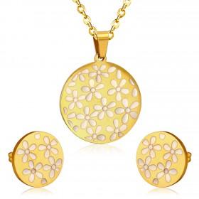 Súprava šperkov z chirurgickej ocele Flower gold