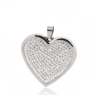Prívesok z chirurgickej ocele Srdce s kryštálmi