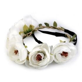 Pružná kvetinová čelenka do vlasov Biela