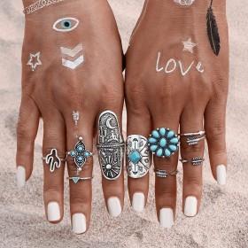 Sada Bohém prsteňov 9ks Tyrkys