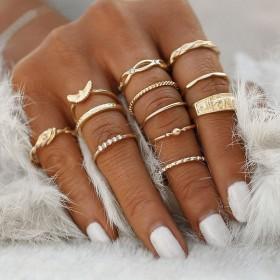 Sada Bohém prsteňov 12ks Meď