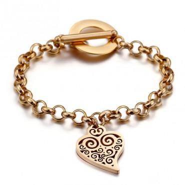Oceľový náhrdelník so srdiečkom Zlatý
