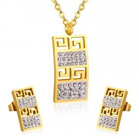 Souprava šperků z chirurgické oceli Geometric Gold