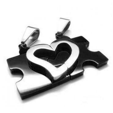 Double prívesok puzzle srdce čierne + 2 retiazky
