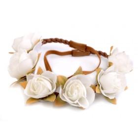 Kvetinková čelenka s ružičkami Biela