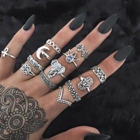 Sada Bohém prsteňov 8ks Boho elephant
