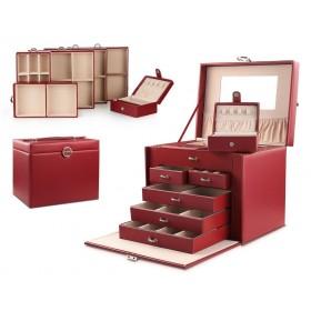 Stenberg Luxusný kufrík na šperky ETUI Červená