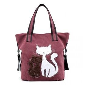 Dámska plátená kabelka Cute Cats Bordová