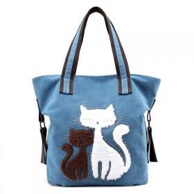 Dámska plátená kabelka Cute Cats Modrá
