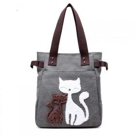 Dámska plátená kabelka Street Cats - tmavošedá