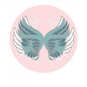 Plážový okrouhlý ručník Boho motýl růžový