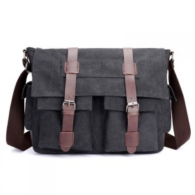 LoSmile pánska plátená taška Travis LS1657BK Čierna