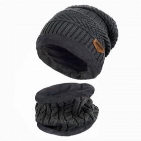 Zimní set 2v1 nákrčník a čiapka - Tmavo šedý