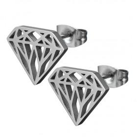 Puzetové náušnice z chirurgickej ocele Diamond