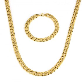 Sada z chirurgickej ocele Masive Cuban Gold / retiazku a náramok