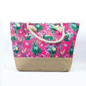 Plážová aj nákupná taška Plameniaky ružové