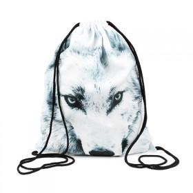 Plátený vak s 3D potlačou Biely Vlk