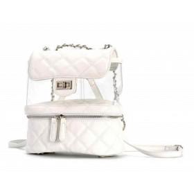 Stredný batôžtek s transparentným priestorom Biely