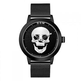 DOM pánske hodinky s lebkou Silver Skull