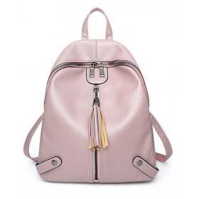 Stredný retro ružový batôžtek so strapcom