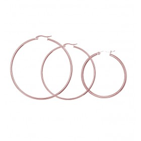Oceľové náušnice kruhy 40-70 mm Just me Ružové zlato