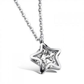 Náhrdelník z nerezovej ocele Hviezda so zirkónom