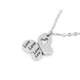 Oceľový náhrdelník motýľ Love Heart