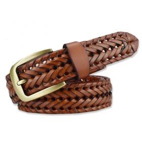 Pánsky pletený kožený opasok Tangle man- hnedý