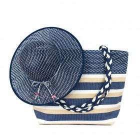 ArtOfPolo Plážový set kabelka s klobúkom Modrá