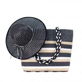 ArtOfPolo Plážový set kabelka s klobúkom Čierna