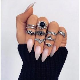 Sada Bohém prsteňov Antique 10ks Čierne slnko