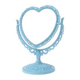Vintage Zrkadlo obojstranné otočné Srdiečko Modré