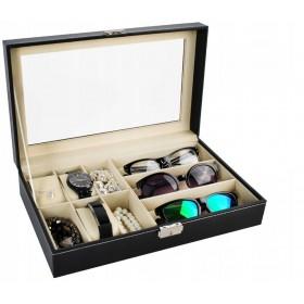 Organizér na hodinky a okuliare čierny