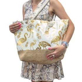 Dizajnová Plážová taška Zlatý plameniak
