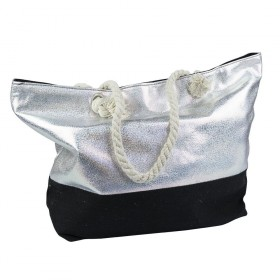 Dizajnová Plážová taška Metalická Strieborná