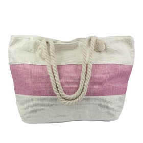 Dizajnová Plážová taška Ružový pruh