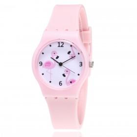 Dievčenské silikónové hodinky Plameniaky - ružové