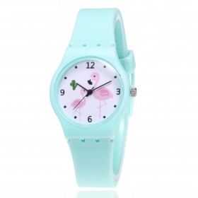 Dievčenské silikónové hodinky Plameniaky - zelené