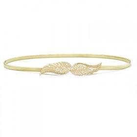 Zlatý pružinový dámsky opasok s kryštálmi