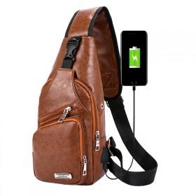 Jinman taška cez hruď a crossbody s USB Hnedá